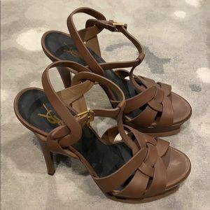 YSL TRIBUTE SANDALS IN BROWN LEATHER